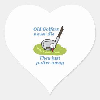 OLD GOLFERS NEVER DIE HEART STICKER