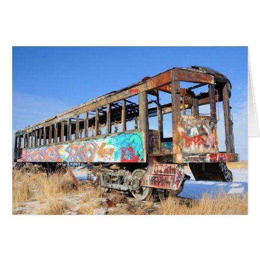 Old Graffiti Railroad Car - Great Salt Lake - Utah Card