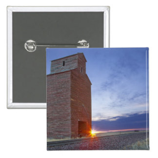 Old granary at Collins Montana at sunrise Button