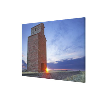 Old granary at Collins Montana at sunrise Canvas Print