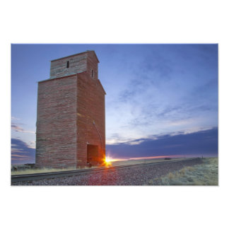 Old granary at Collins Montana at sunrise Art Photo