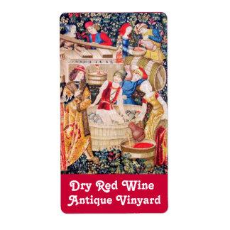 OLD GRAPE VINEYARD HARVEST AND RED WINE BARRELS LABEL