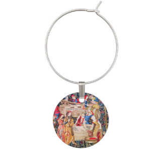 OLD GRAPE VINEYARD HARVEST AND RED WINE BARRELS WINE CHARMS