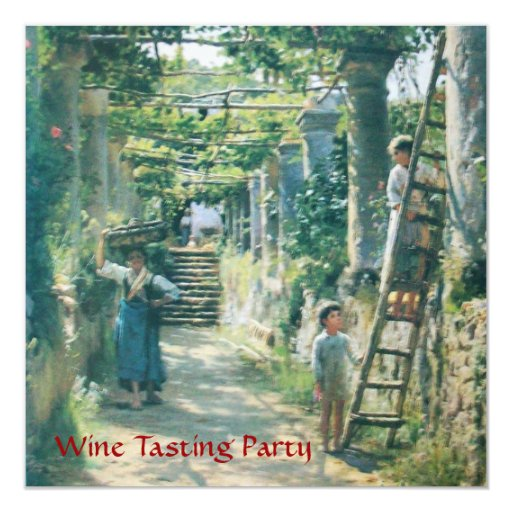 OLD GRAPE VINEYARD  HARVEST WINE TASTING PARTY 5.25X5.25 SQUARE PAPER INVITATION CARD