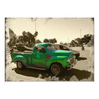 Old green car card