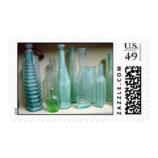 Old Green Glass Bottles Postage