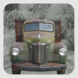 Old Green International Truck Square Sticker