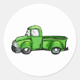 Old Green Pickup Truck Round Sticker