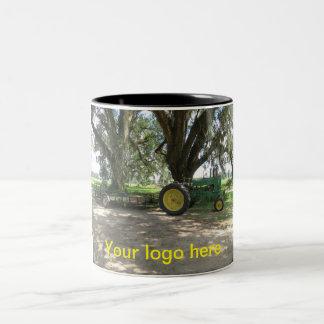 Old green tractor coffee mug