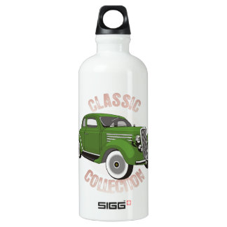 Old green vintage car with whitewall tires aluminum water bottle