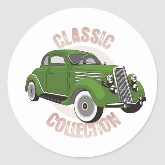 Old green vintage car with whitewall tires classic round sticker