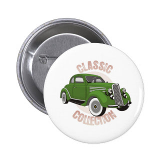 Old green vintage car with whitewall tires pinback button