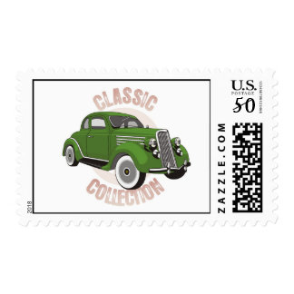 Old green vintage car with whitewall tires postage