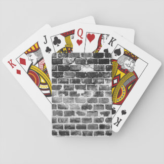 Old Grey Weathered Brick Wall Texture Playing Cards