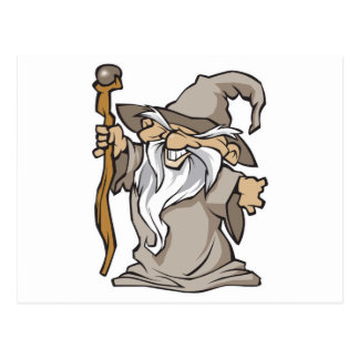 old grey wizard sorcerer post card