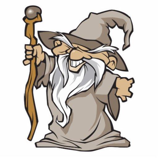 old grey wizard sorcerer standing photo sculpture