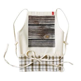 Old grey wooden boards zazzle HEART apron