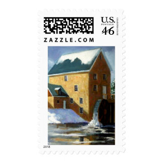 OLD GRIST MILL PAINTING POSTAGE STAMPS