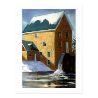 OLD GRIST MILL PAINTING POSTCARD