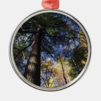 old-growth hemlock metal ornament