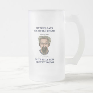 Old Grump Wife Says Frosted Glass Beer Mug