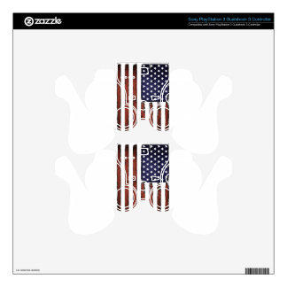 Old Grunge American flag Skins For PS3 Controllers