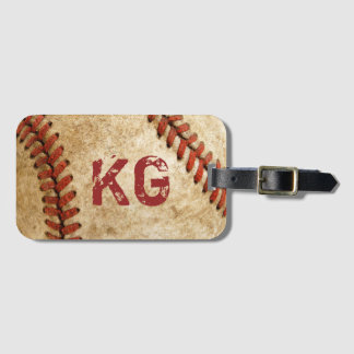 Old Grunge Baseball Personalized Monogram Initials Bag Tag