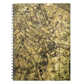 Old Grunge Blueprint Notebook