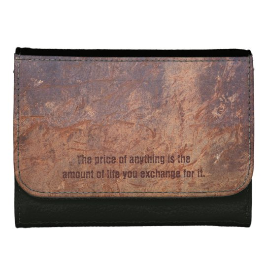 Old Grunge Leather Look With Inspiration Quotes Women S Wallet
