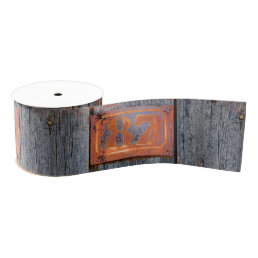 Old Grunge Rusty Metal House Number No. 87 Photo Grosgrain Ribbon