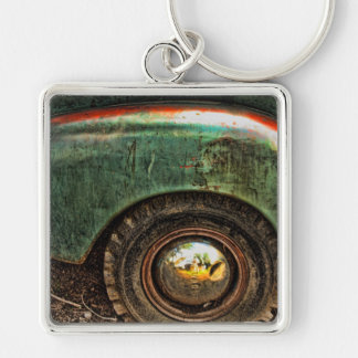 Old Grungy Green Truck -Keychain Keychain