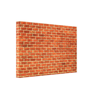 Old Grungy Red Orange Brick Wall Facade Structure Gallery Wrap Canvas