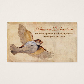 old grungy vintage bird business card