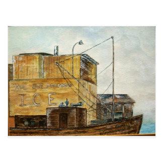 Old Gulfcoast Ice House and Shrimp Boat Postcard
