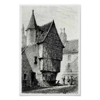 Old half-timbered house print