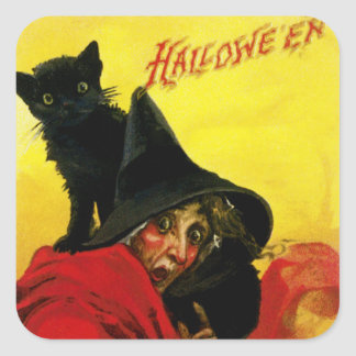 Old Halloween Witch Square Sticker