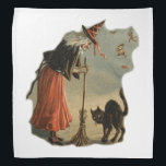 """Old Halloween Witch with broom and a black pet cat Bandana<br><div class=""""desc"""">Design is a drawing of an old Witch with silver gray white hair dressed in a Orange dress skirt and a black shawl and white collar. and a black witches hat with red ribbon.She has a Straw broom in her hand. The witch peers down at a blue eyed black cat....</div>"""
