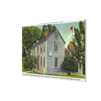 Old Hancock Clark House View, Paul Revere Rode B Stretched Canvas Print