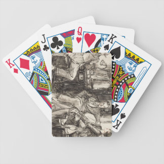 Old hand draw bicycle playing cards