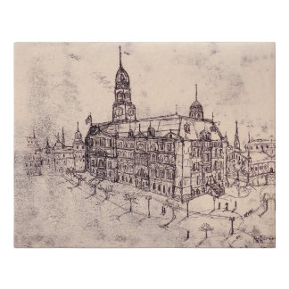 old hand drawn drawing Old Town Warsaw Faux Canvas Print