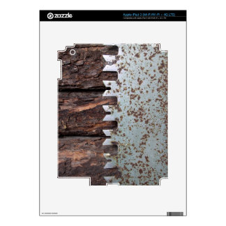 Old hand saw on log cabin decals for iPad 3