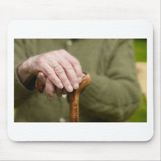old hands OF A senior lean on walking stick Mouse Pad