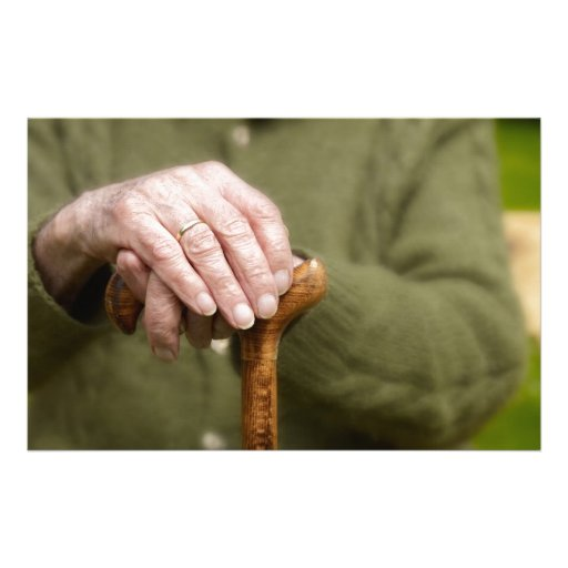 old hands OF A senior lean on walking stick Custom Stationery
