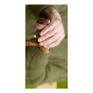 old hands with stick old hands with walking stick card