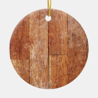 Old Hardwood Look Double-Sided Ceramic Round Christmas Ornament