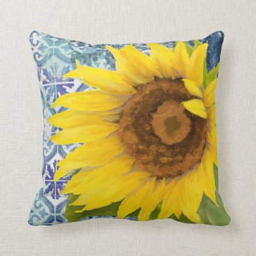 Beach Themed Old Havana Sunflower Blue n White Tile Pattern Art Throw Pillow