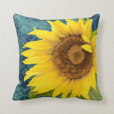 Beach Themed Old Havana Sunflower Floral Blue Tile Pattern Art Throw Pillow