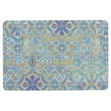 Beach Themed Old Havana Tile Pattern Blue and White Terra Cotta Floor Mat