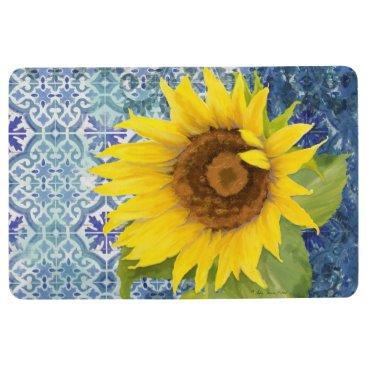 Beach Themed Old Havana Tile Pattern Sunflower Floral Wooden Floor Mat