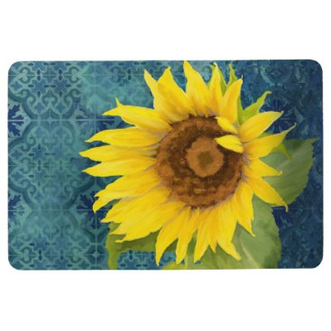 Beach Themed Old Havana Tile Pattern w Sunflower Floral Blue Floor Mat